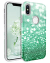 BENTOBEN Case for Apple iPhone XS 2018 / iPhone X / 10, Glitter Bling Girl Women Cover Dual Layer Heavy Duty Protective Shockproof Rugged Bumper Phone Case Cover for iPhone XS/X 5.8 Inch, Mint Green - BENTOBEN
