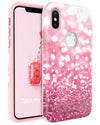 iPhone X Case, BENTOEBN Luxury Glitter Bling Slim Shockproof Case for Apple iPhone X Rose Gold Pink - BENTOBEN