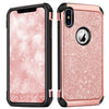 "BENTOBEN iPhone X/10 Case, iPhone XS (2018) Shockproof Glitter Sparkle Bling Girl Women 2 in 1 Shiny Faux Leather Hard PC Soft Bumper Protective Phone Cover for Apple iPhone X/XS 5.8"", Rose Gold/Pink - BENTOBEN"