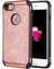 BENTOBEN Sparkly Glitter Luxury 2 in 1 Slim Hybrid Hard PC Girls Women Cover with Shiny Leather Shockproof Protective Case for Apple iPhone 8/7(4.7 inch),Rose Gold&Pink