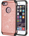 BENTOBEN Glitter Luxury 2 in 1 Shiny Faux Leather Chrome Shockproof Protective Case for iPhone 6/iPhone 6S (4.7 inch), Rose Gold - BENTOBEN