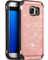 BENTOBEN 2 in 1 Luxury Glitter Bling Hybrid Hard Covers Shockproof Bumper Protective Case for Samsung Galaxy S7 Edge, Rose Gold - BENTOBEN