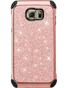 BENTOBEN 2 in 1 Luxury Glitter Bling Hybrid Slim Hard PC Cover  Shockproof Protective Case for Samsung Galaxy S6 G920, Rose Gold - BENTOBEN