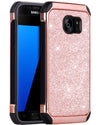 BENTOBEN Case for Galaxy S7, 2 in 1 Luxury Glitter Bling Hybrid Slim Hard Cover Laminated with Sparkly Shiny Faux Leather Shockproof Case  Rose Gold - BENTOBEN