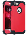 BENTOBEN Slim Shockproof 3 in 1 Hard PC Soft Silicone Hybrid Coated Full-Body Protective Phone Cover Case for iPhone 7 Plus (5.5 inch), Christmas Red - BENTOBEN