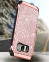 BENTOBEN Shockproof Glitter Sparkly Bling 2 in 1 Hybrid Hard PC Shiny Faux Leather Chrome Protective Case for Samsung Galaxy S8 2017 (5.8 Inch), Rose Gold - BENTOBEN