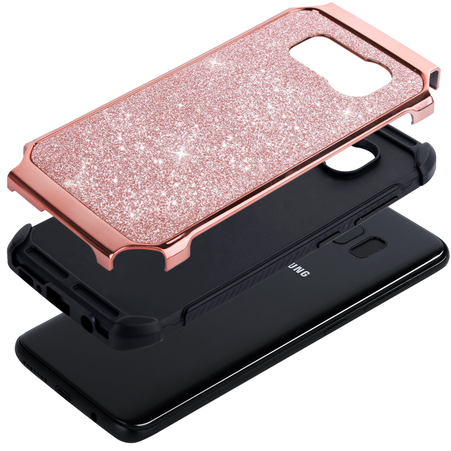 superior quality a8743 0886a BENTOBEN Shockproof Glitter Sparkly Bling 2 in 1 Hybrid Hard PC Shiny Faux  Leather Chrome Protective Case for Samsung Galaxy S8 2017 (5.8 Inch), Rose  ...