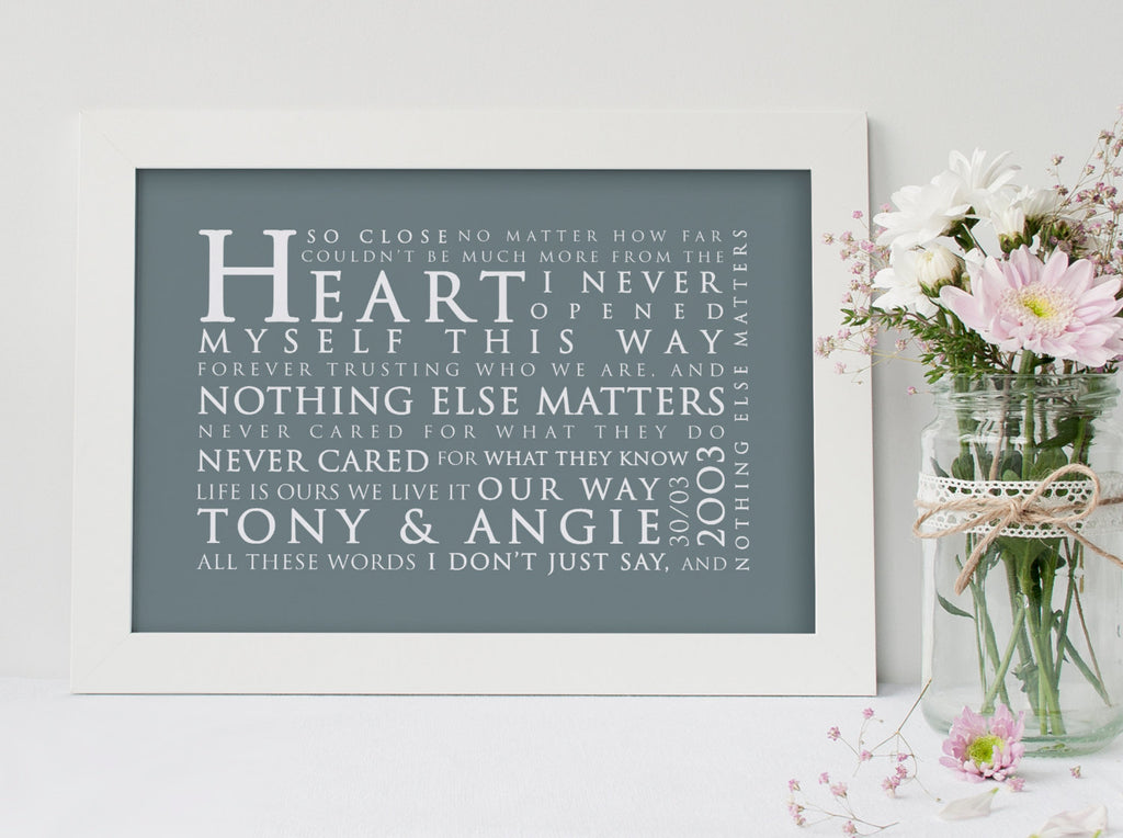 METALLICA Nothing Else Matters Inspired Lyric Art: Personalised Typography Print