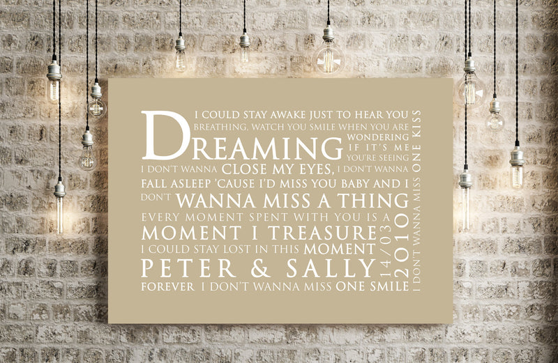 Aerosmith I Don't Want To Miss A Thing Inspired Lyric Art: Personalised Typography Print