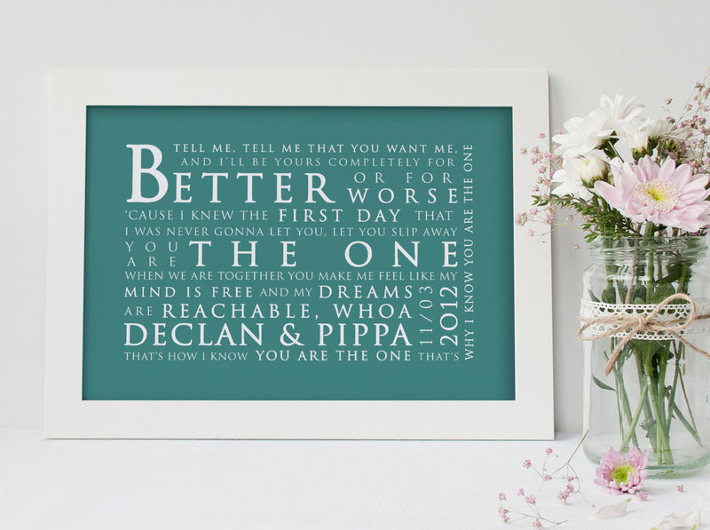 Kodaline The One Inspired Lyric Art: Personalised Typography Print