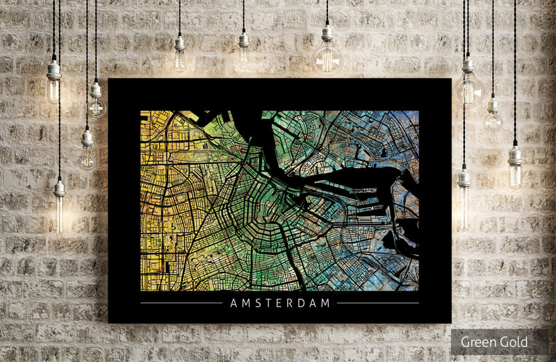 Amsterdam Map: City Street Map of Amsterdam Holland - Sunset Series Art Print