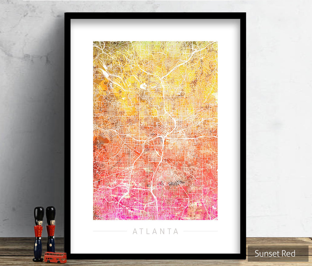 Atlanta Map: City Street Map of Atlanta, Georgia - Sunset Series Art Print