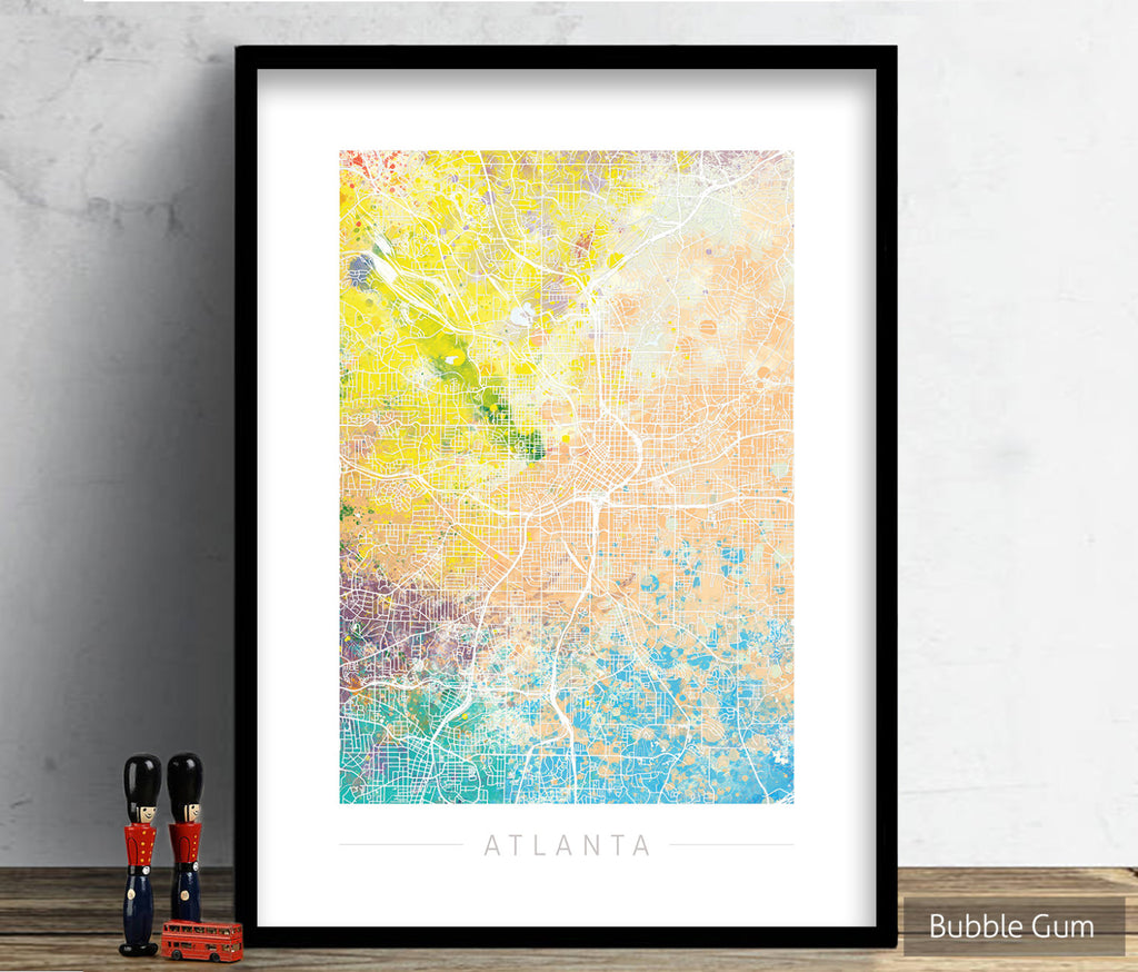 Atlanta Map: City Street Map of Atlanta, Georgia - Nature Series Art Print