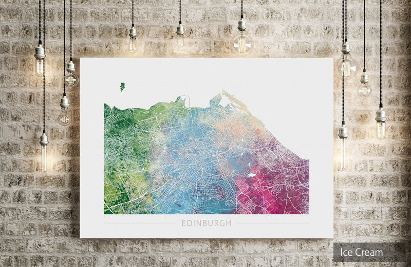 Edinburgh Map: City Street Map of Edinburgh Scotland - Nature Series Art Print