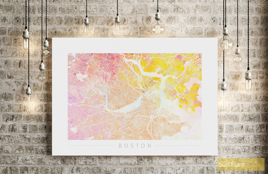 Boston Map: City Street Map of Boston, Massachusetts - Nature Series Art Print