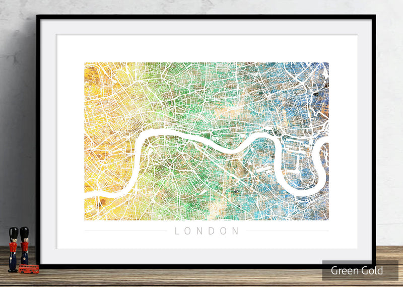 London Map: City Street Map of London England - Sunset Series Art Print in WHITE