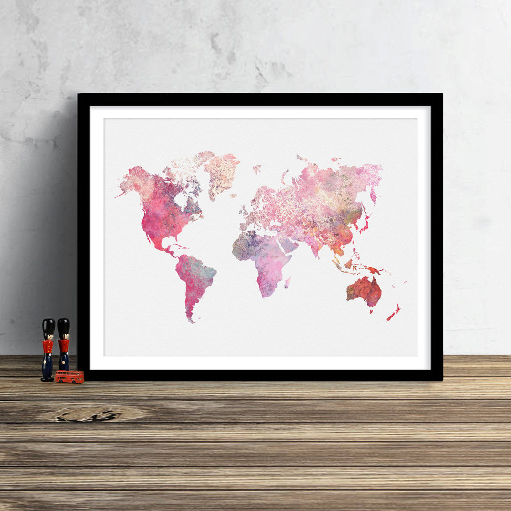 World Map: Watercolor Illustration Wall Art - Crushed Pink Theme