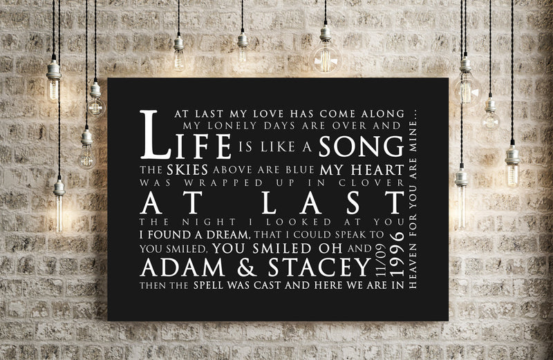 Etta James At Last Inspired Lyric Art: Personalised Typography Print