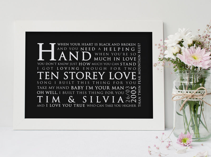 Stone Roses Ten Storey Love Song Inspired Lyric Art: Personalised Typography Print