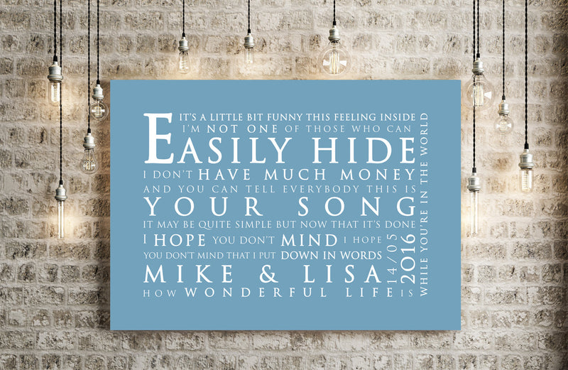 Elton John Your Song Inspired Lyric Art: Personalised Typography Print