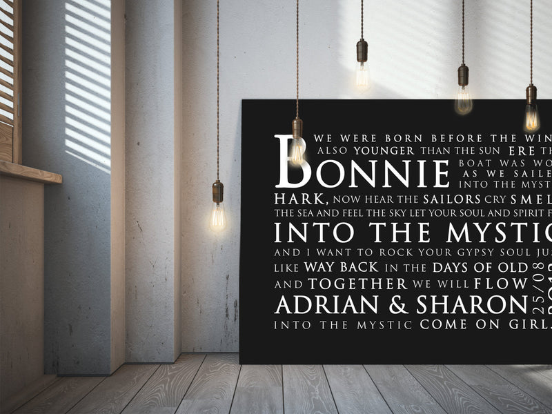 Van Morrison Into The Mystic Inspired Lyric Art: Personalised Typography Print