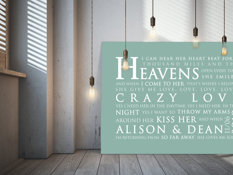 Van Morrison Crazy Love Inspired Lyric Art: Personalised Typography Print