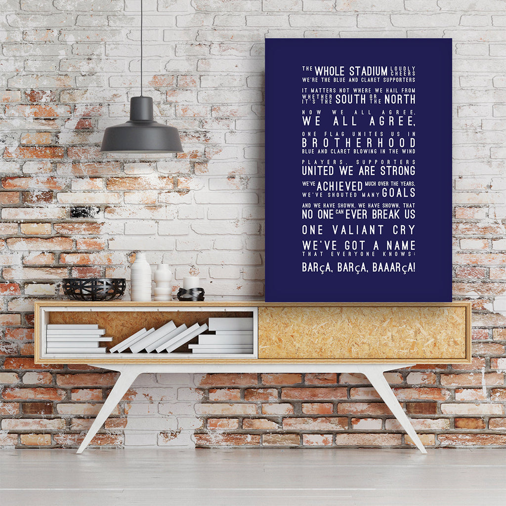 El Cant del Barca Lyrics, Barcelona FC Inspired Lyrics Football Anthems Print