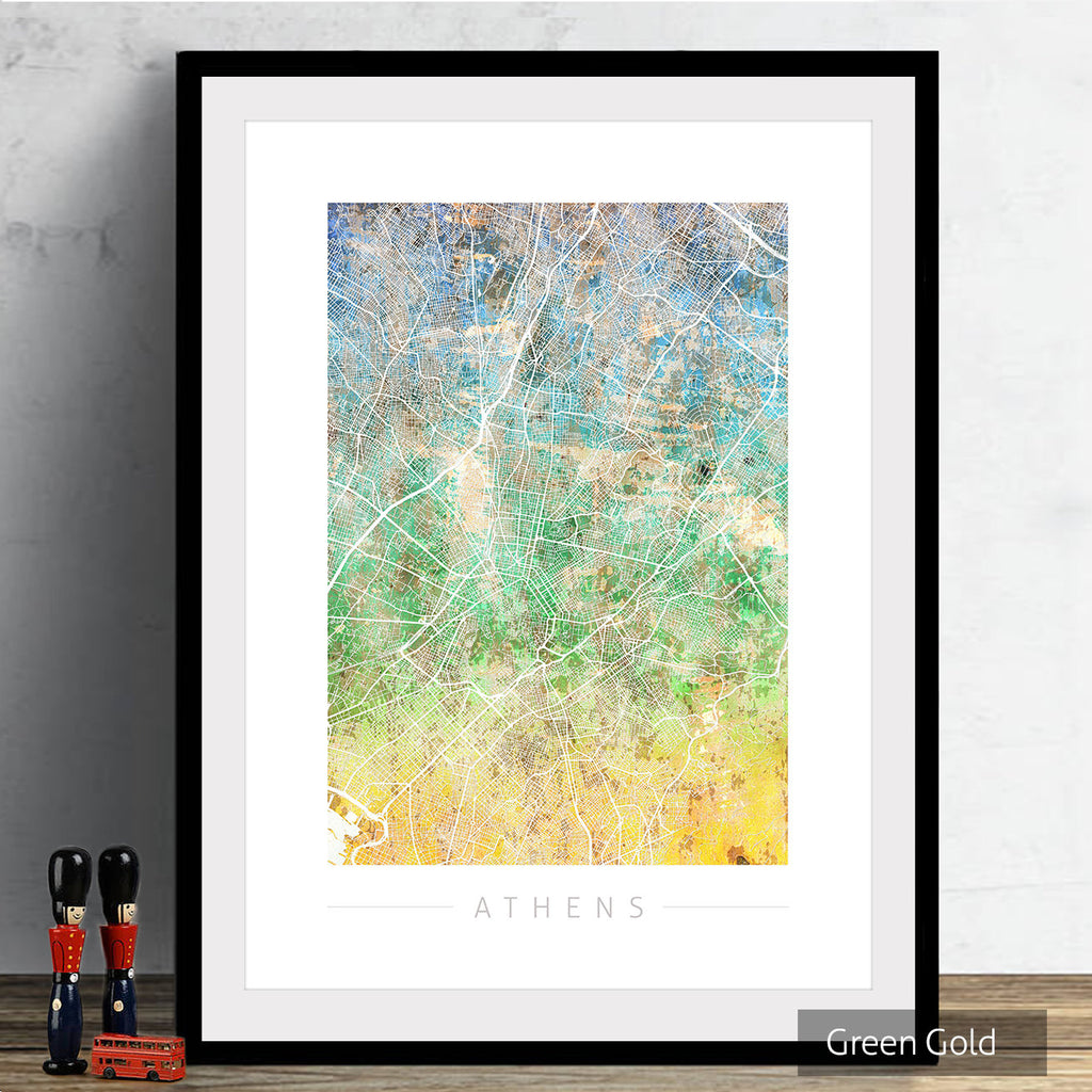 Athens Map: City Street Map of Athens Greece - Sunset Series Art Print