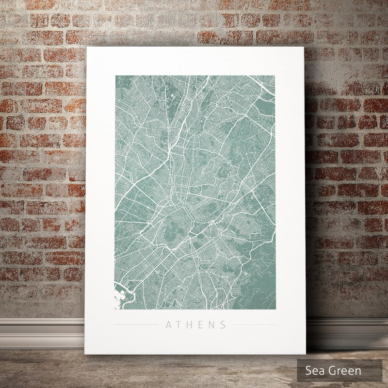 Athens Map: City Street Map of Athens Greece - Colour Series Art Print