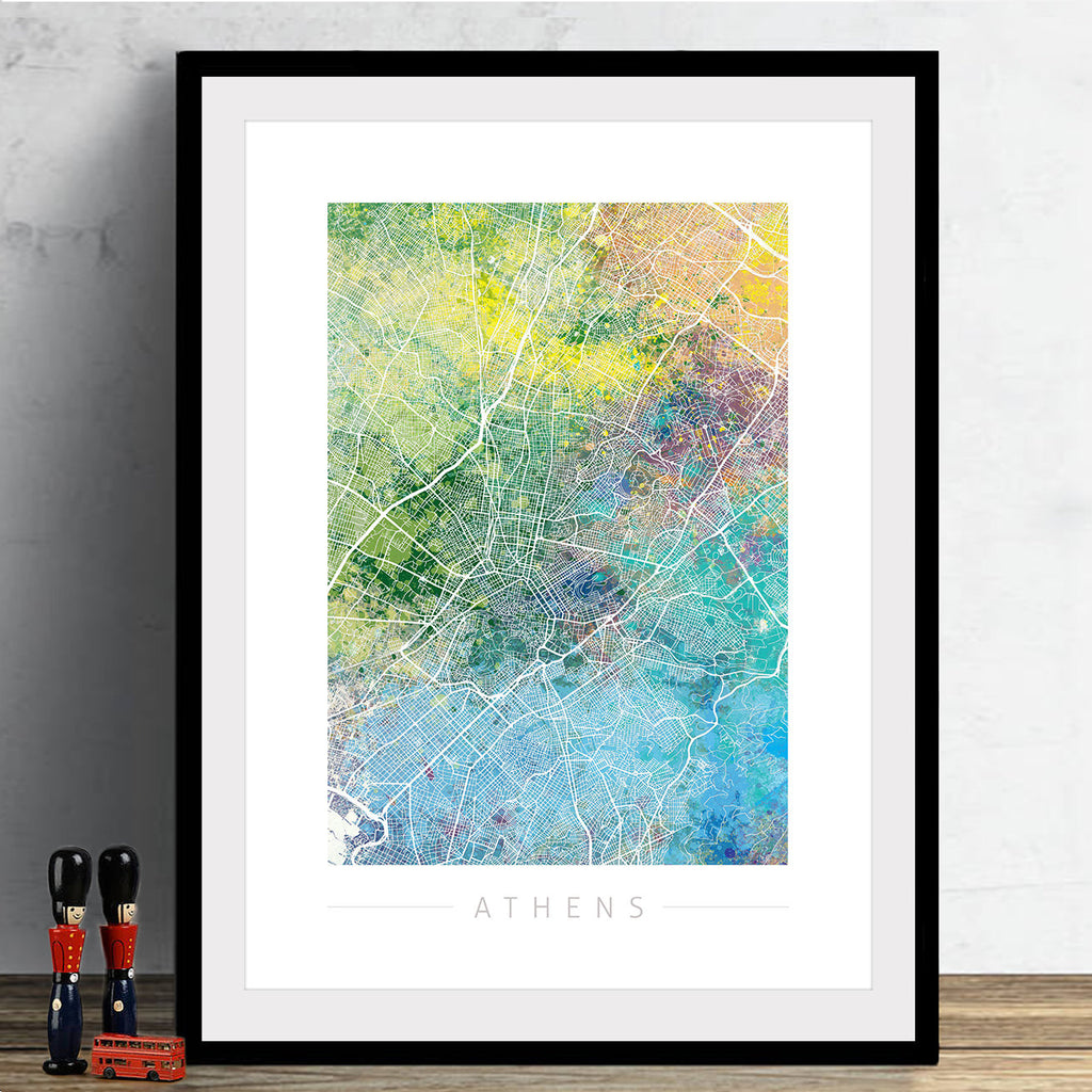 Athens Map: City Street Map of Athens Greece - Nature Series Art Print
