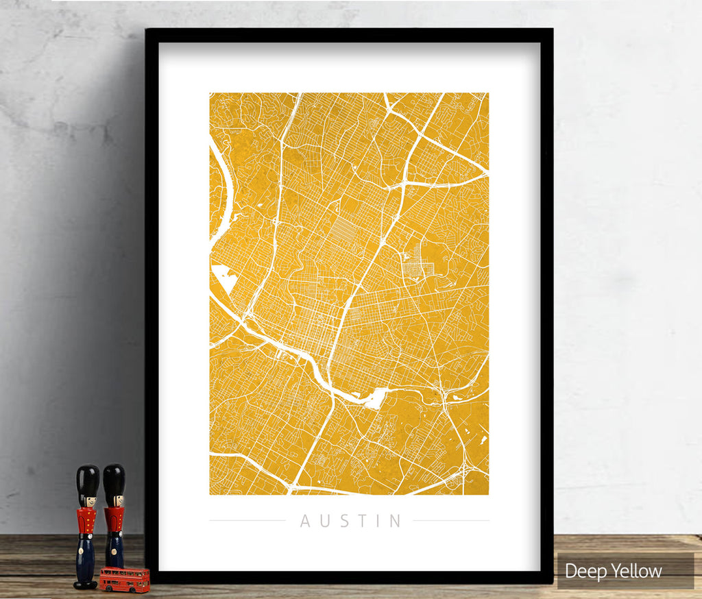 Austin Texas Map: City Street Map of Austin USA - Colour Series Art Print