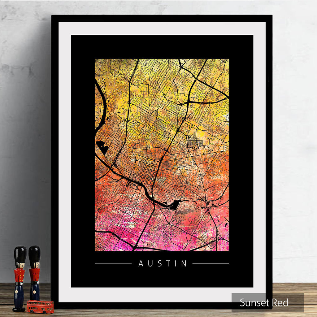 Austin Texas Map: City Street Map, USA - Texas Map: Sunset Series Art Print
