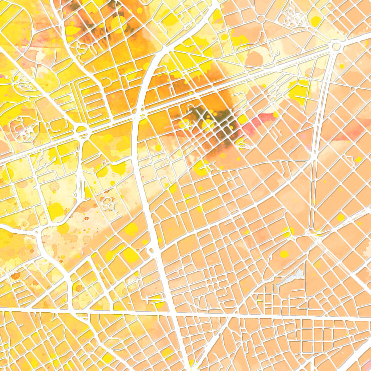 Barcelona Map: City Street Map of Barcelona Spain - Nature Series Art Print