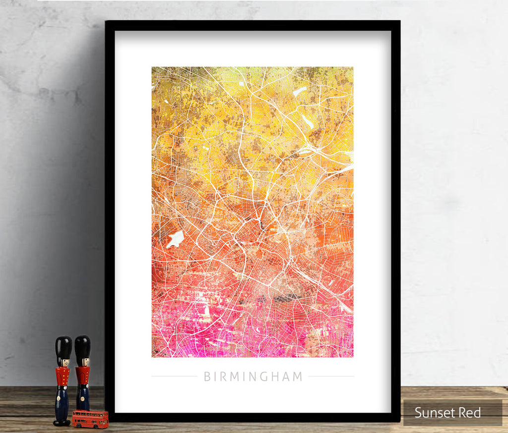 Birmingham Map: City Street Map of Birmingham England UK - Sunset Series Art Print