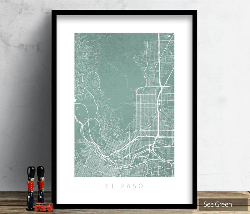 El Paso Texas Map: City Street Map of El Paso USA - Colour Series Art Print