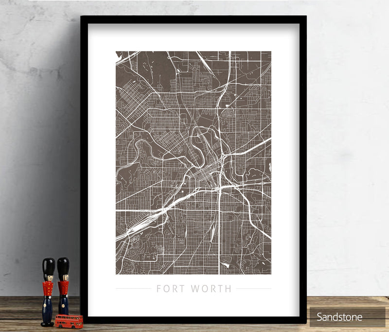 Fort Worth Texas Map: City Street Map of Fort Worth USA - Colour Series Art Print