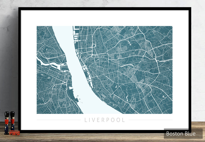 Liverpool Map: City Street Map of Liverpool England UK - Colour Series Art Print
