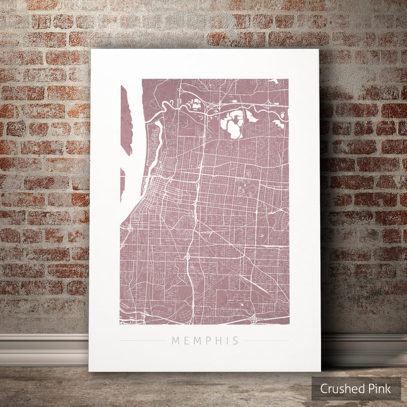 Memphis Map: City Street Map of Memphis Tennessee - Colour Series Art Print