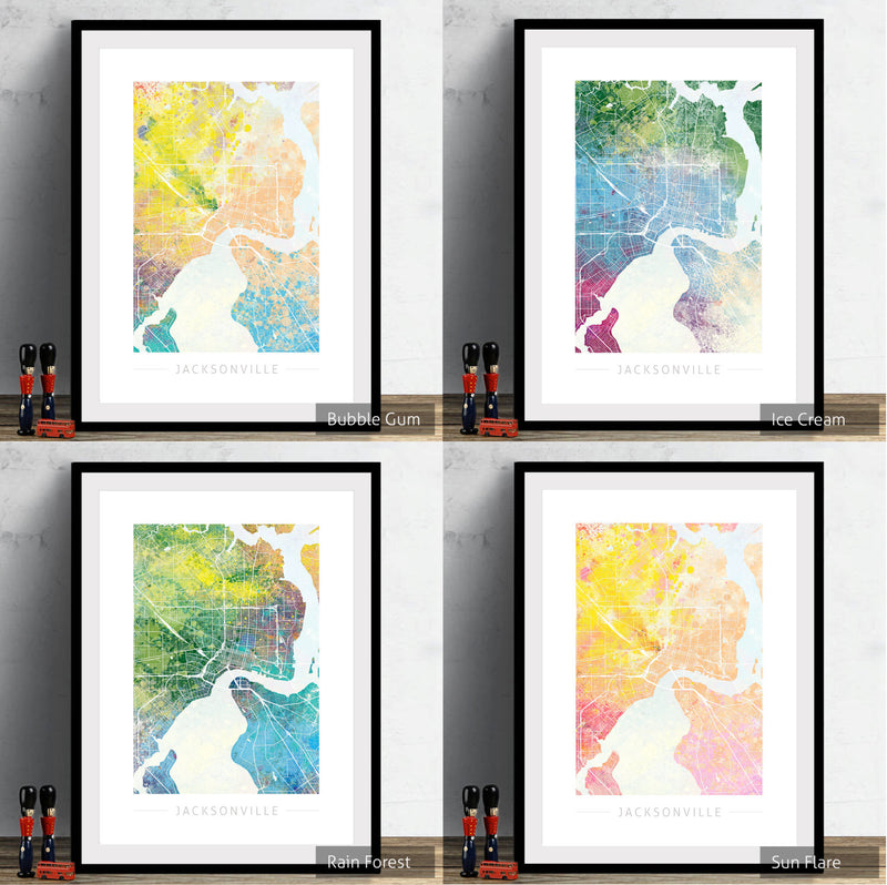 Jacksonville Map: City Street Map, Florida - Nature Series Art Print
