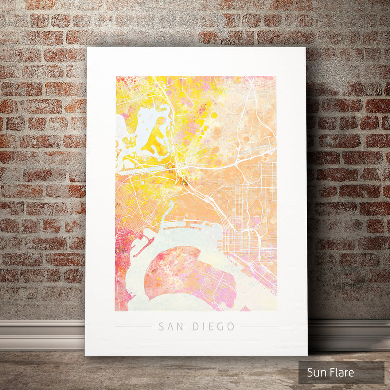 San Diego Map: City Street Map of San Diego California - Nature Series Art Print