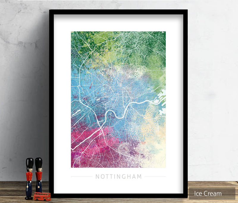 Nottingham Map: City Street Map of Nottingham England UK - Nature Series Art Print