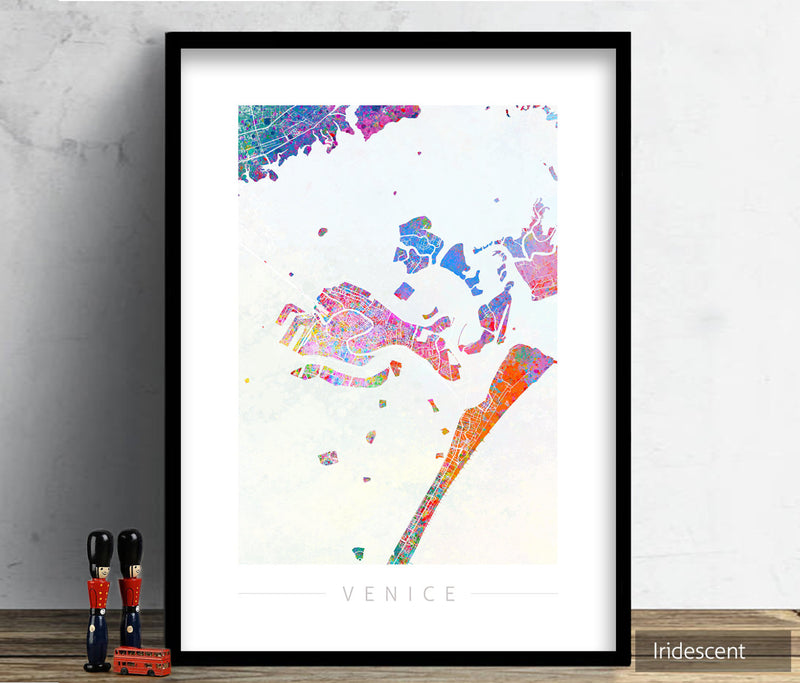 Venice Map: City Street Map of Venice Italy - Sunset Series Art Print
