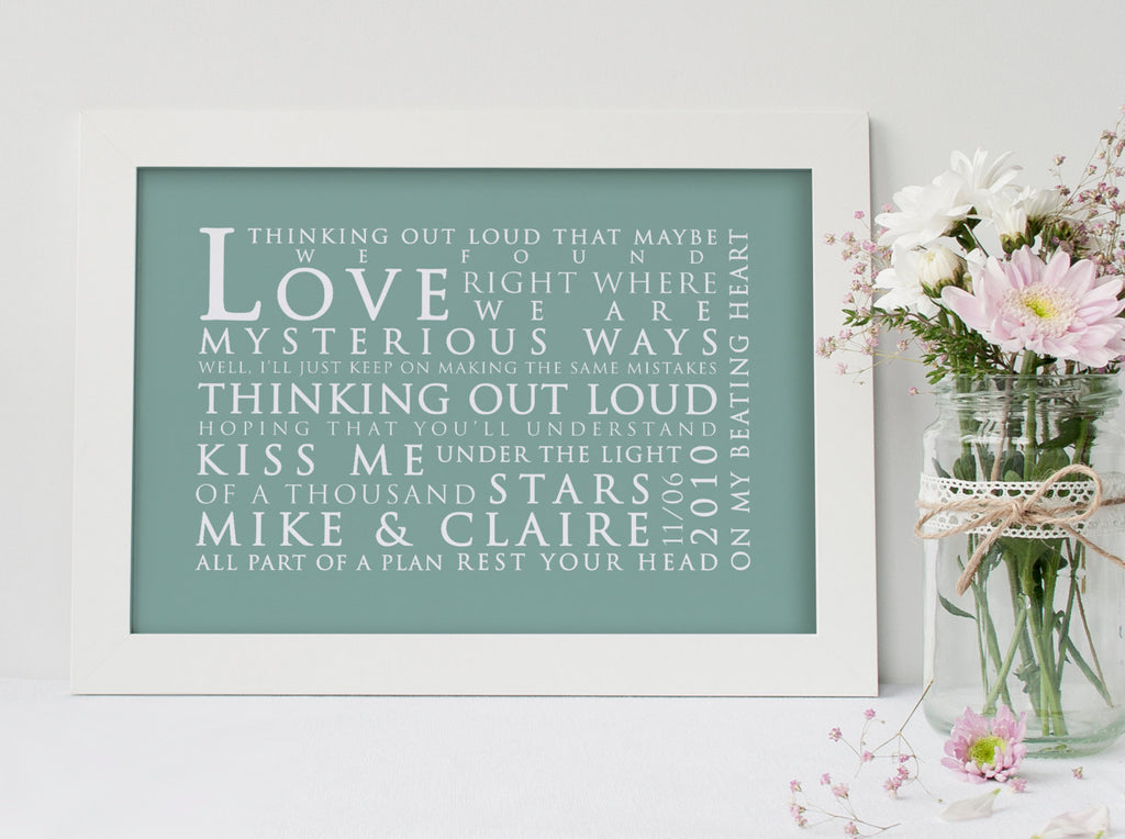 Ed Sheeran Thinking Out Loud Inspired Lyric Art: Personalised Typography Print
