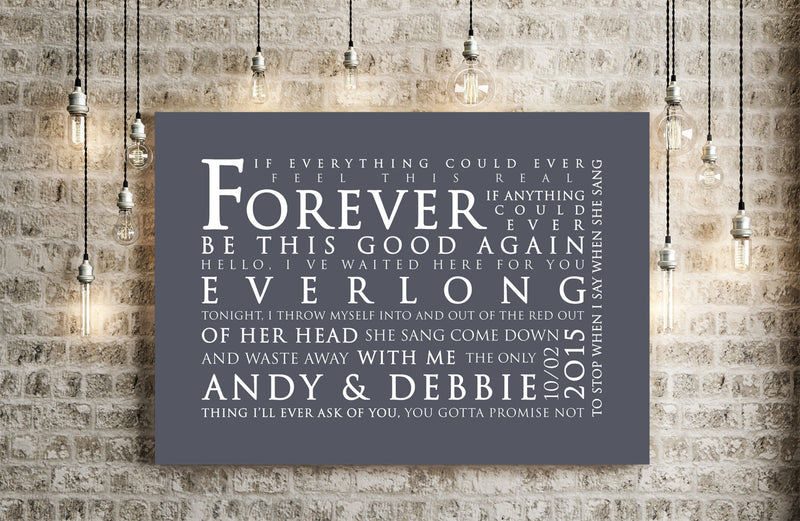 Foo Fighters Everlong Inspired Lyric Art: Personalised Typography Print