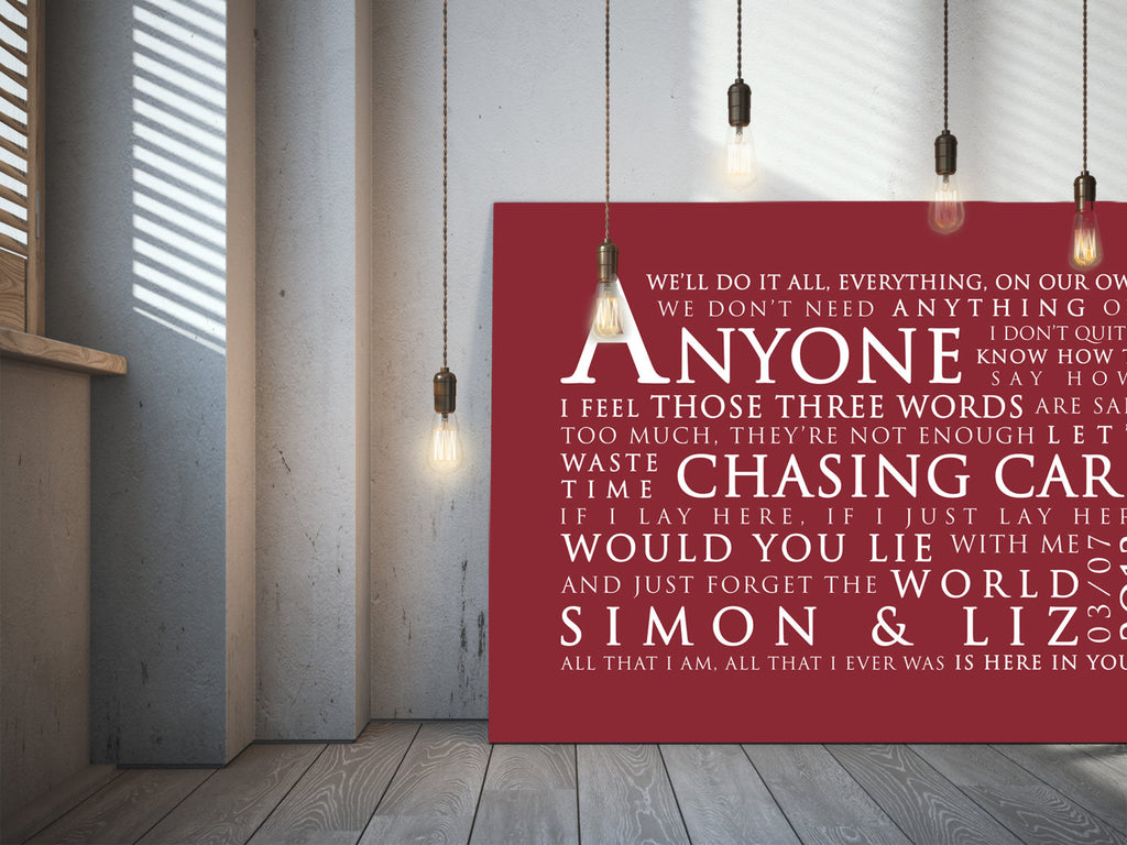 Snow Patrol Chasing Cars Inspired Lyric Art: Personalised Typography Print