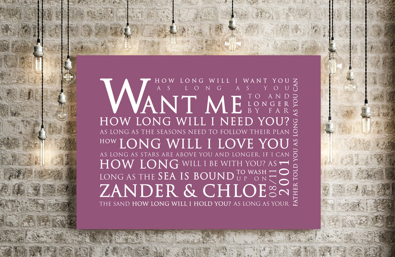 Ellie Goulding How Long Will I Love You Inspired Lyric Art: Personalised Typography Print