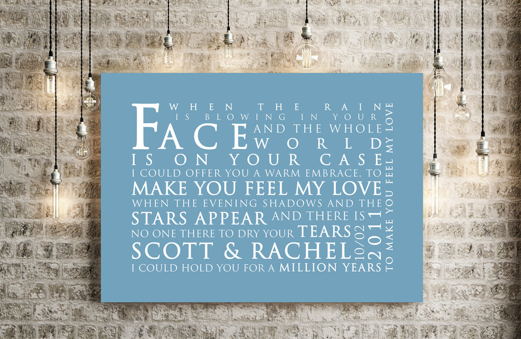 Adele Make You Feel My Love Inspired Lyric Art: Personalised Typography Print