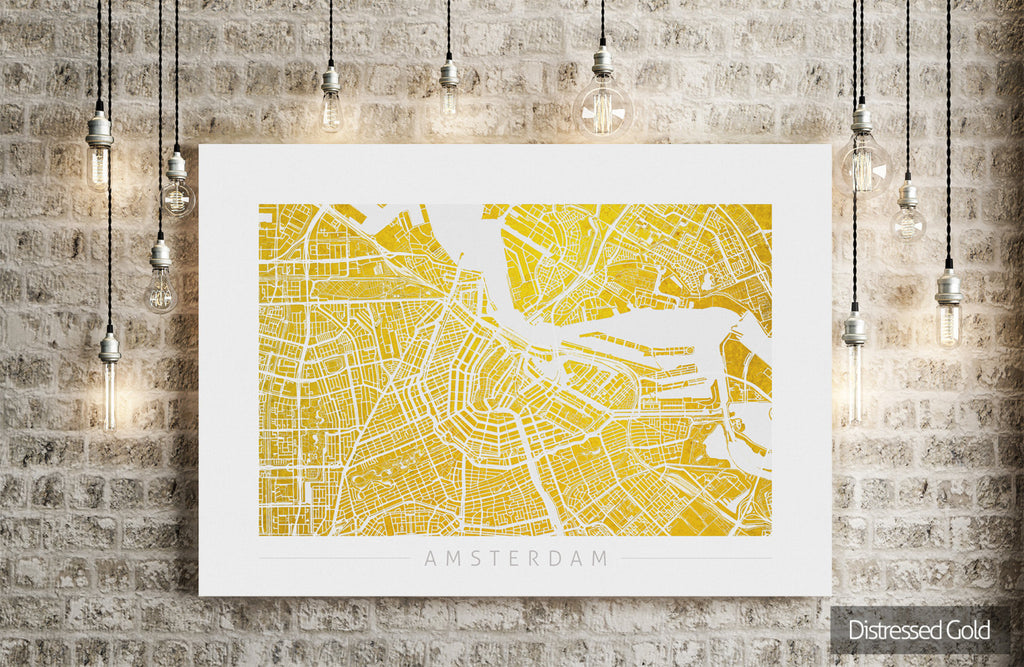 Amsterdam Map: City Street Map of Amsterdam Holland - Colour Series Art Print