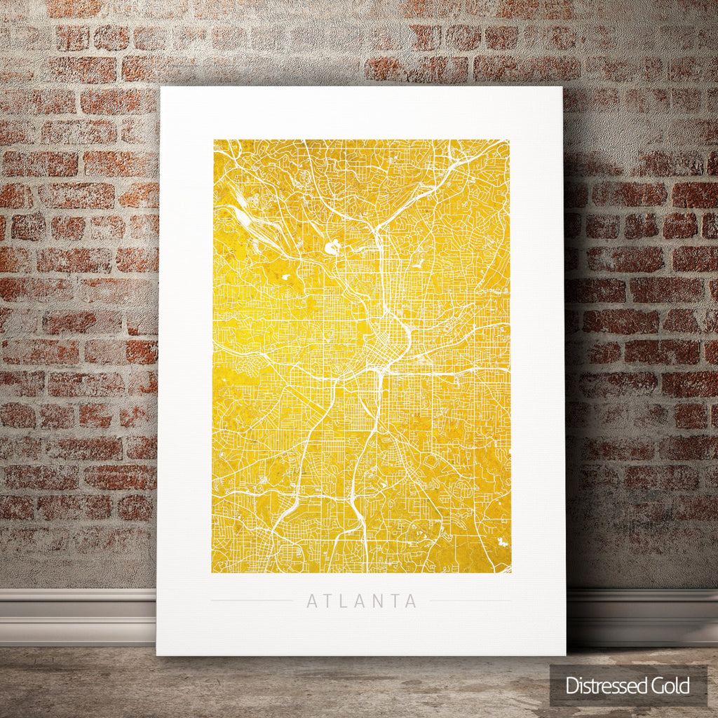 Atlanta Map: City Street Map of Atlanta Georgia - Colour Series Art Print