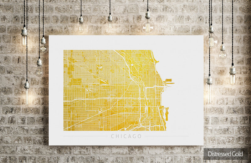 Chicago Map: City Street Map of Chicago Illinois - Colour Series Art Print